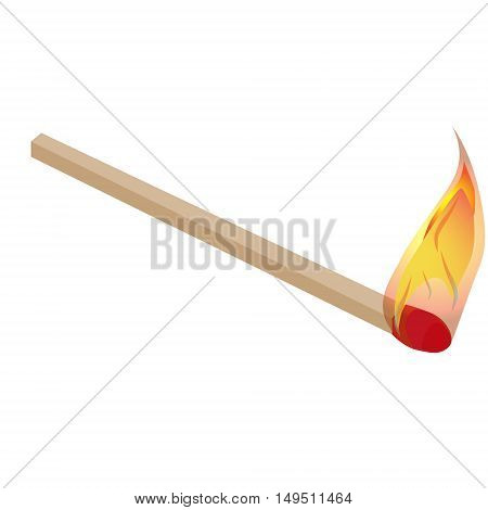 burning match with flame isolated vector illustration