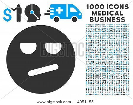 Bored icon with 1000 medical commercial gray and blue glyph pictographs. Design style is flat bicolor symbols white background.