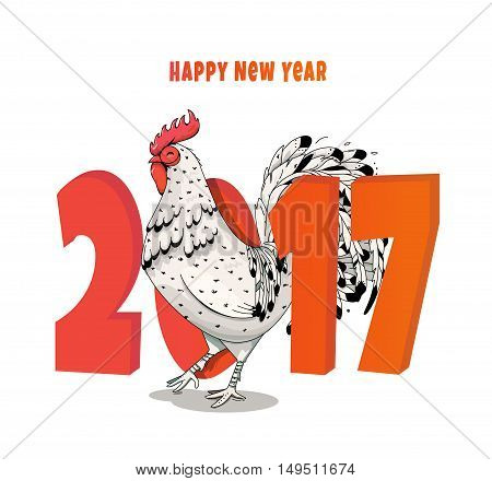New Year illustration of a rooster in 2017. Fire cock with elements zantagl. It can be used to print on fabric, flyers, calendars, bags, T-shirts.
