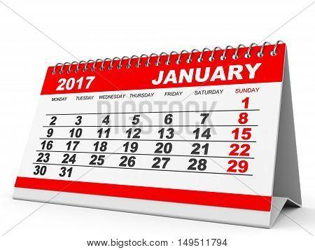 Calendar January  2017 On White Background.