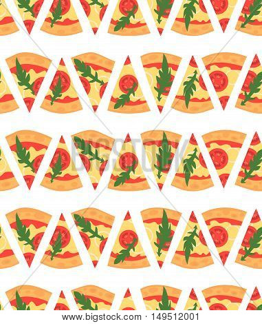 Seamless pattern with pizza margherita slices. Vector illustration. Cartoon style