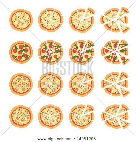 Set with different varieties of pizza. Cut slices. Margherita shrimp bacon onion tomatoes. Top view. Vector illustration. Isotated on white