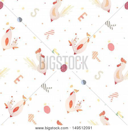 Bright children pattern with roosters and letters. Vector pattern for the fabric, books, cover. Seamless pattern with birds for children.
