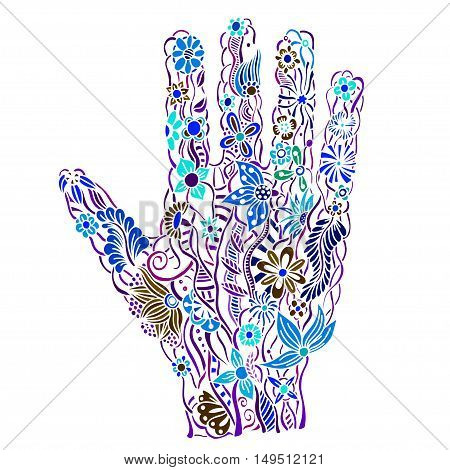 human hand of the beautiful painted flowers. Floral palm, hand drawn zentangle style for our design. Colored Vector illustration