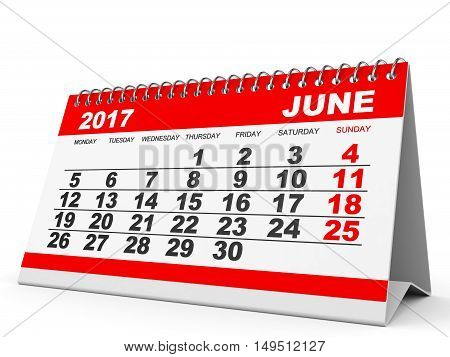 Calendar June 2017 On White Background.