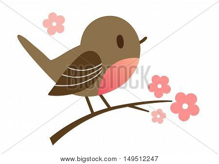 Cartoon hand drawn illustration of a cute robin bird sitting on a flowering tree branch in contemporary flat vector style. Spring nature outdoor themed design element for website and print.
