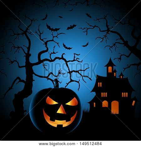 Halloween night poster with haunted castle and grinning pumpkin vector eps 10