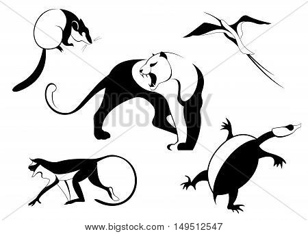 Decor animal silhouette illustration collection for design