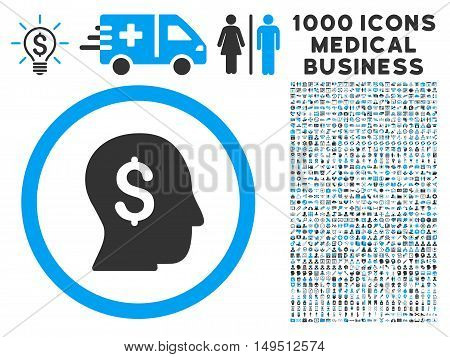 Businessman icon with 1000 medical commerce gray and blue glyph pictographs. Collection style is flat bicolor symbols white background.