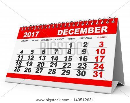 Calendar December 2017 On White Background.