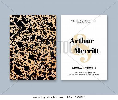 Golden Vector invitation with handmade abstract elements. Modern Wedding Collection. Gold, a premium invitation to the feast.