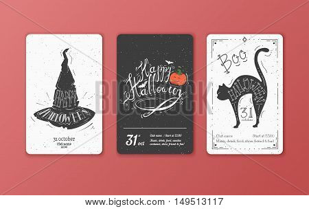 Set of vector black and white cards for Halloween. It can be used for invitation to a party, holiday flyer.