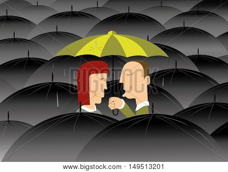 Where is no bad weather when you are fall in love. Two lovers stay under umbrella and do not pay attention to the rain