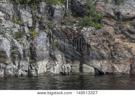 A view of the harsh rocky shore of Ladoga lake overgrown with moss and shrubs.