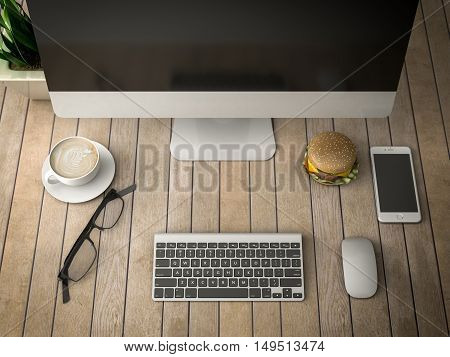 breakfast with a computer telephone and coffee 3d illustration