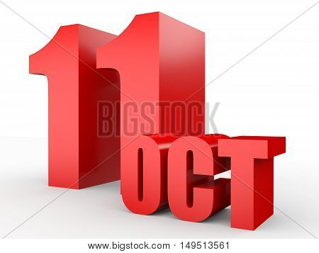 October 11. Text On White Background.