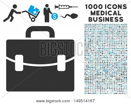 Case icon with 1000 medical business gray and blue glyph pictograms. Set style is flat bicolor symbols white background.