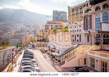Monte Carlo, Monaco - June 13, 2016: Cityscape view on the luxury apartments and hotels on the french riviera in Monte Carlo in Monaco