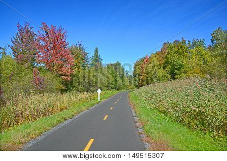 Early fall cycle path landscape Granby/Bromont Quebec Canada