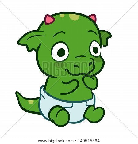 Vector hand drawn cartoon illustration of a cute sitting baby monster dragon mascot character wearing a diaper isolated on white. Birthday new baby and baby shower theme design element