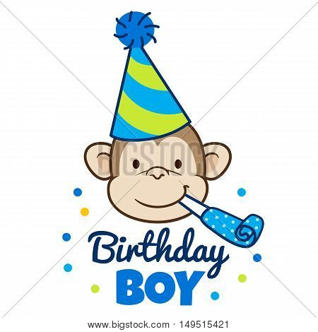Vector hand drawn cartoon illustration of a happy monkey face in a party hat with party blower horn in mouth with words