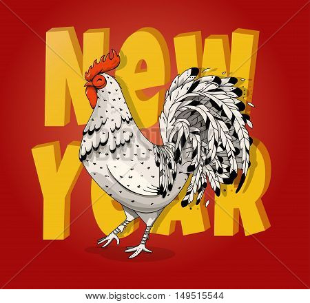 Vector illustration of rooster, symbol of 2017 on the Chinese calendar. Vector element for New Year s design. Image of 2017 year of Red Rooster.