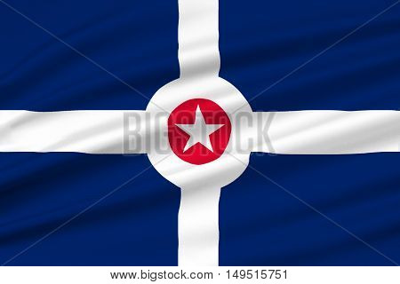Flag of Indianapolis is the capital of Indiana state in United States. 3D illustration