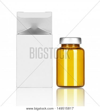 Medical bottle with paper box on white background