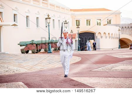 Monte Carlo, Monaco - June 13, 2016: Ceremonial changing of guard at residence of Prince of Monaco. Guards unit was created in 1817 to provide security for the Palace, Sovereign Prince and his family.