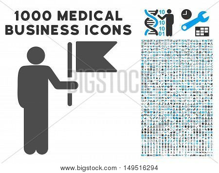 Commander With Flag icon with 1000 medical business gray and blue glyph pictograms. Design style is flat bicolor symbols white background.
