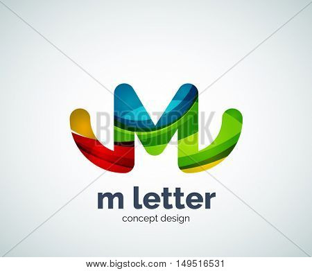 m letter logo, abstract geometric logotype template, created with overlapping elements