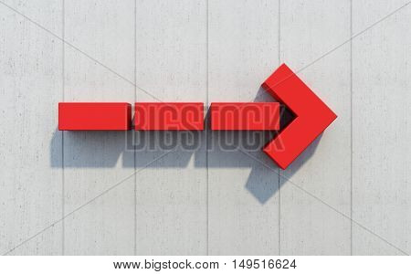 red arrow show direction, 3D rendering