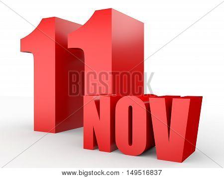 November 11. Text On White Background.