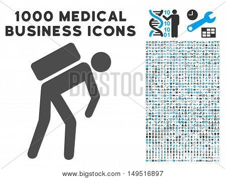 Courier icon with 1000 medical business gray and blue glyph pictographs. Collection style is flat bicolor symbols white background.