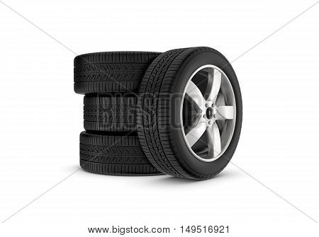 3d rendering black wheels with one in profile isolated on white background. Rubber and caoutchouc. Transport and Transportation.
