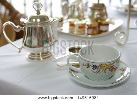 Antique Tea-set On Table Close-up, Afternoon Tea
