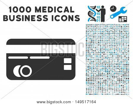Credit Card icon with 1000 medical commercial gray and blue glyph design elements. Design style is flat bicolor symbols white background.