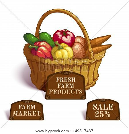 Fresh farm products composition with vegetables in wicker basket and brown tablets with offers vector illustration