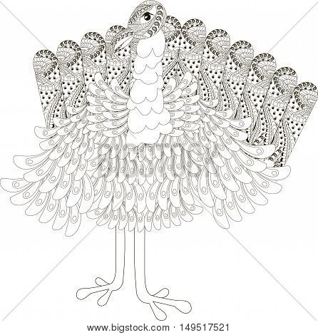 Black and white sketch of a ornamental turkey, hand drawn vector illustration