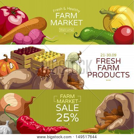 Farmers market horizontal banners set with healthy vegetables season for fresh products and sales isolated vector illustration