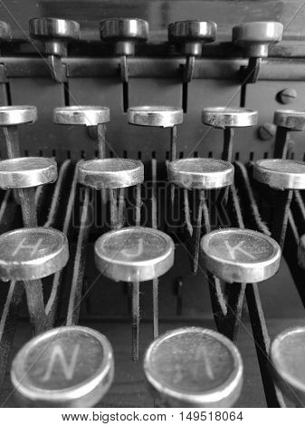 Close up of old typewriter in black and white