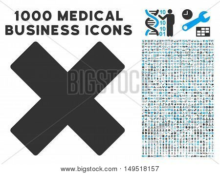 Delete X-Cross icon with 1000 medical commercial gray and blue glyph design elements. Set style is flat bicolor symbols white background.