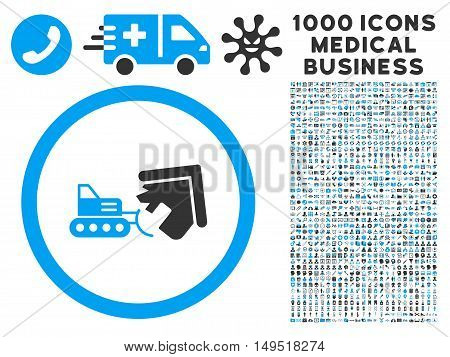 Demolition icon with 1000 medical commercial gray and blue glyph pictographs. Collection style is flat bicolor symbols white background.