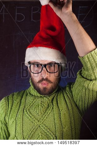 The Bearded Man In Red Christmas Hat Santa Claus,