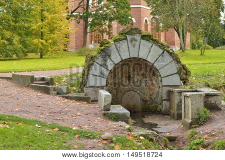 The Park has a grotto.From his flowing spring water.