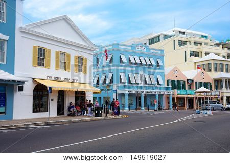 HAMILTON BERMUDA MAY 25 - A colorful downtown section across from the ferry terminal on May 25 2016 in HamiltonBermuda.