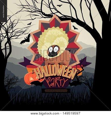 Halloween Party invitation. Flat vectror cartoon illustrated design of a french bulldog in center of striped shield, bats, pumpkin jack-o-lantern, ribbon, lettering, forest landscale, trees and hills