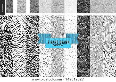 Handdrawn black and white patterns set. Fur or leaves seamless black and white patterns