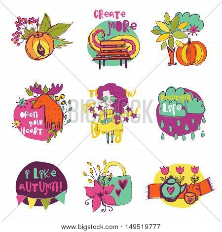 Autumn vector isolated elements collection. Colorful hand drawn different items. Doodle style.