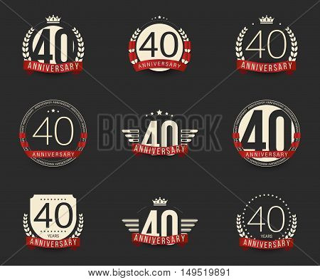 Forty years anniversary logotype with branches, ribbons, wings, crowns. 40th anniversary logo collection. Vector illustration.